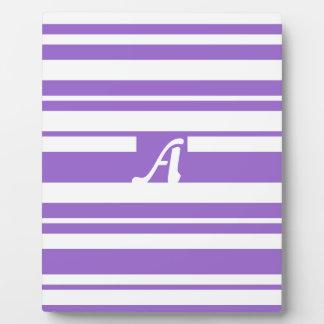 Amethyst and White Random Stripes Monogram Plaque