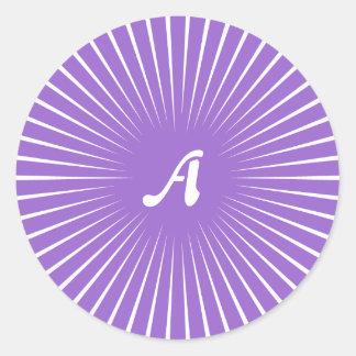 Amethyst and White Sunrays Monogram Round Stickers