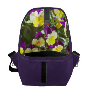 Amethyst Bag with Pansies Inside Courier Bag