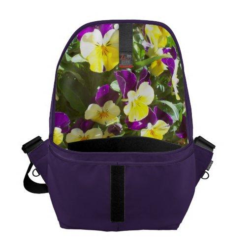 Amethyst Bag with Pansies Inside Messenger Bag