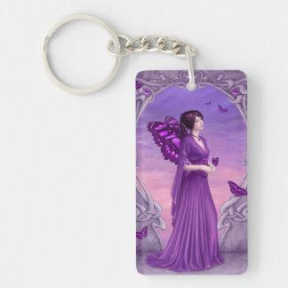 Amethyst Birthstone Fairy Double Sided Keychain