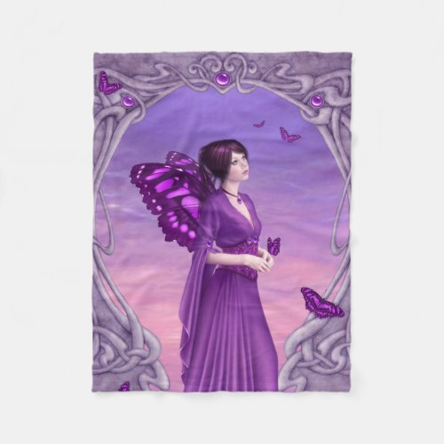 Amethyst Birthstone Fairy Fleece Blanket
