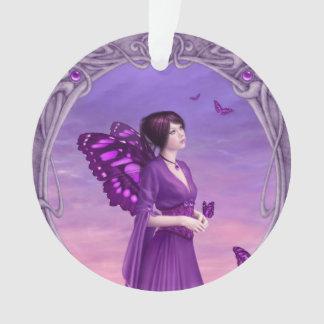 Amethyst Birthstone Fairy Round Ornament