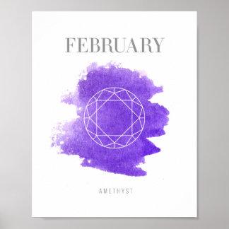 Amethyst Birthstone February Poster