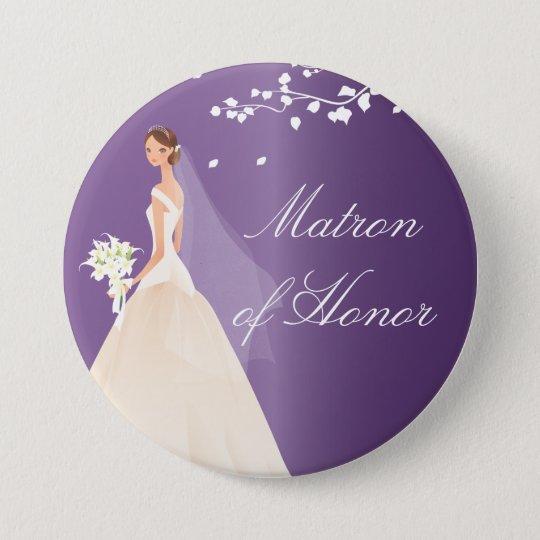 Amethyst Bride Matron Honor Bridal Party  Button