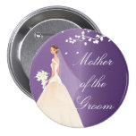 Amethyst Bride MOG Bridal Party  Button