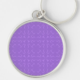Amethyst calligraphic pattern Silver-Colored round keychain
