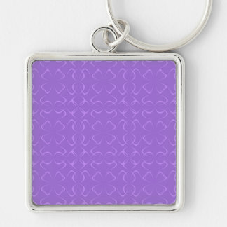 Amethyst calligraphic pattern Silver-Colored square keychain