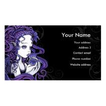 amethyst, purple, lilly, lillie, flower, blue, angel, gothic, myka, jelina, art, fairy, faery, faerie, fae, fairies, crystal, ball, magical, cute, big, eyed, angels, Business Card with custom graphic design