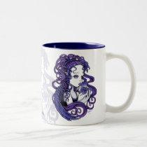 amethyst, purple, lilly, lillie, flower, blue, angel, gothic, myka, jelina, art, fairy, faery, faerie, fae, fairies, crystal, ball, magical, cute, big, eyed, angels, Mug with custom graphic design