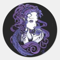 amethyst, purple, lilly, lillie, flower, blue, angel, gothic, myka, jelina, art, fairy, faery, faerie, fae, fairies, crystal, ball, magical, cute, big, eyed, angels, Sticker with custom graphic design