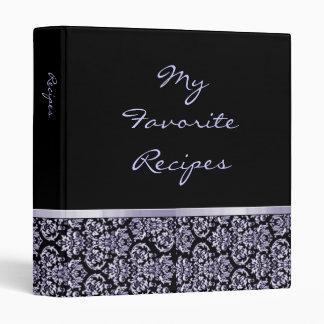 Amethyst Damask Ribbon Recipe Book 3 Ring Binders