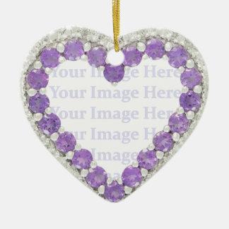 Amethyst & Diamond Heart Frame Ceramic Ornament