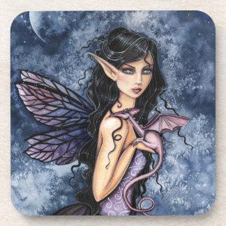Amethyst Dragon Purple Fairy Fantasy Art Drink Coasters