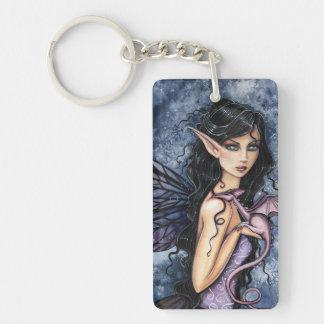 Amethyst Dragon Purple Fairy Fantasy Art Single-Sided Rectangular Acrylic Keychain