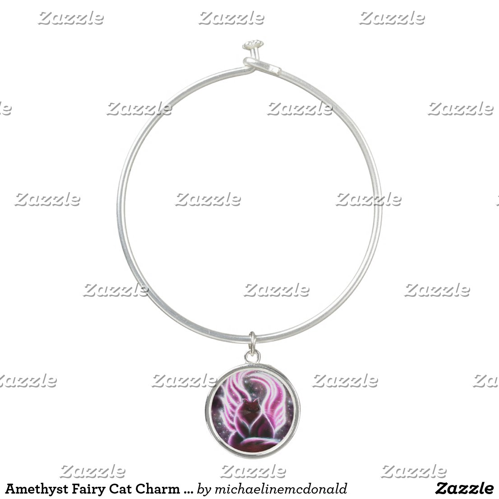 Amethyst Fairy Cat Charm Bracelet