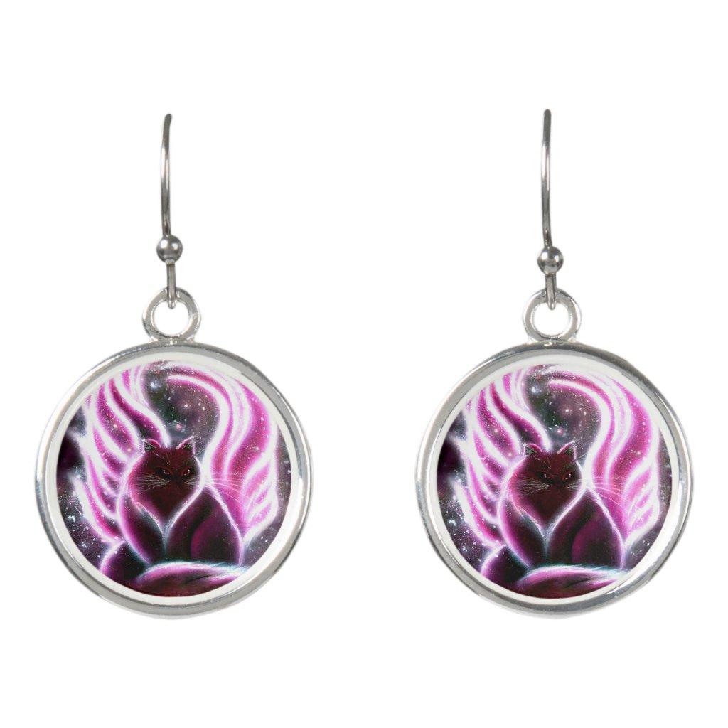 Amethyst Fairy Cat Earrings