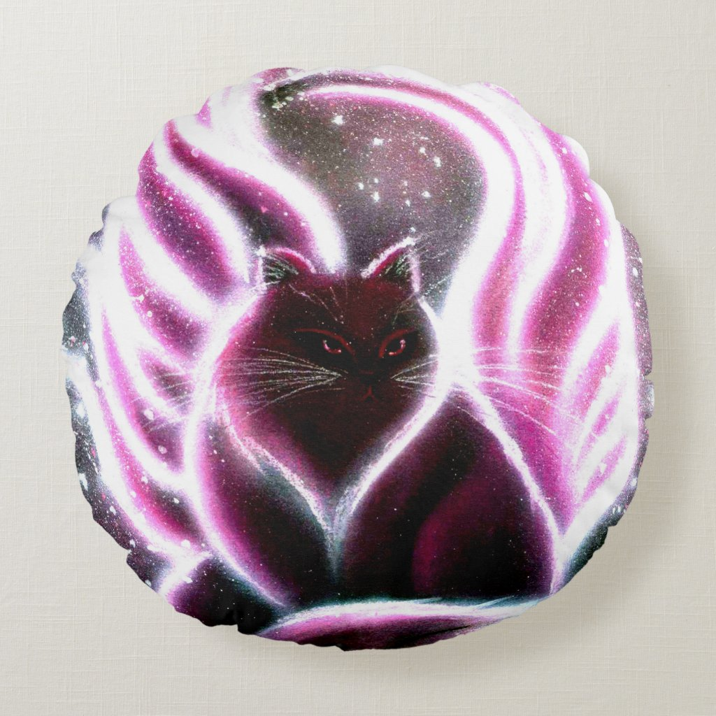Amethyst Fairy Cat Round Pillow
