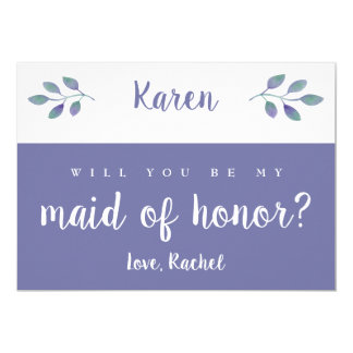 Amethyst Foliage Wedding Be My Maid of Honor Invitation