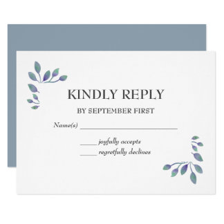 Amethyst Foliage Wedding RSVP Card