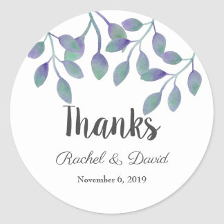 Amethyst Foliage Wedding Thank You Stickers