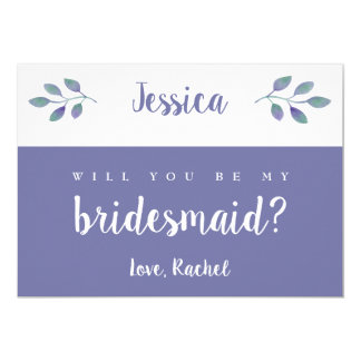Amethyst Foliage Wedding Will You Be My Bridesmaid Invitation