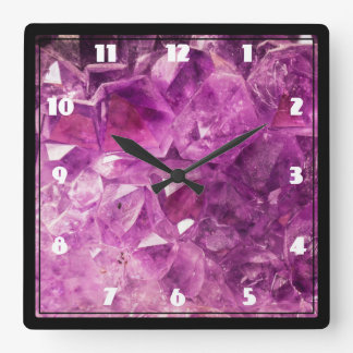 Amethyst Gemstone Image Shiny and Sparkly Square Wallclock