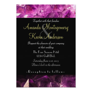 Amethyst Gemstone Image Shiny and Sparkly 5x7 Paper Invitation Card