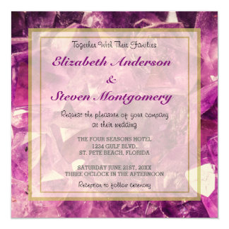 Amethyst Gemstone Image Shiny and Sparkly 5.25x5.25 Square Paper Invitation Card