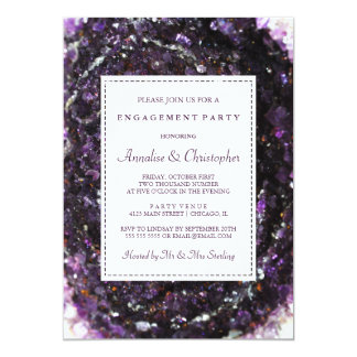 Amethyst Geode Purple Engagement Party Invitation