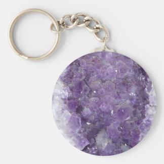 Amethyst Geode - Violet Crystal Gemstone Basic Round Button Keychain