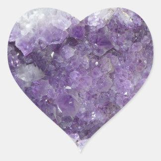 Amethyst Geode - Violet Crystal Gemstone Heart Sticker
