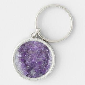 Amethyst Geode - Violet Crystal Gemstone Silver-Colored Round Keychain