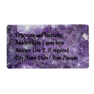 Amethyst Geode - Violet Crystal Gemstone Label