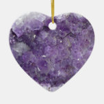 Amethyst Geode - Violet Crystal Gemstone Double-Sided Heart Ceramic Christmas Ornament