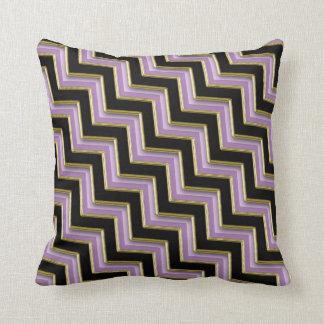 Amethyst Gold Black Zigzag Pattern Throw Pillow