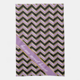 Amethyst Gold Black Zigzag Pattern Towels