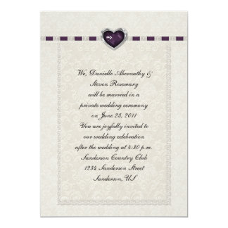 Amethyst Heart Purple Ribbon & Lace Post Wedding Card