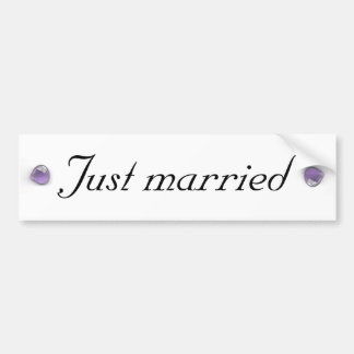 Amethyst Just Married Bumper Sticker