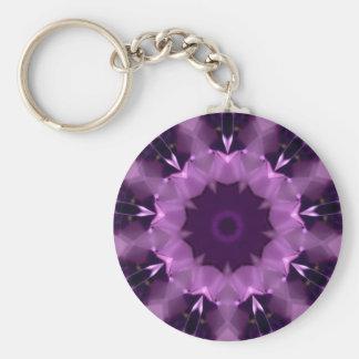 Amethyst Kaleidoscope Basic Round Button Keychain
