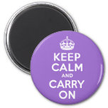 Amethyst Keep Calm and Carry On 2 Inch Round Magnet