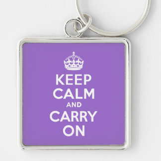 Amethyst Keep Calm and Carry On Silver-Colored Square Keychain