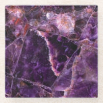Amethyst Magic Marble Glass Coaster