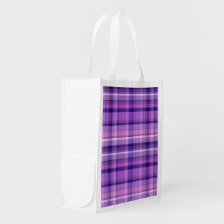 Amethyst Navy Blue Cotton Candy Pink Madras Reusable Grocery Bag