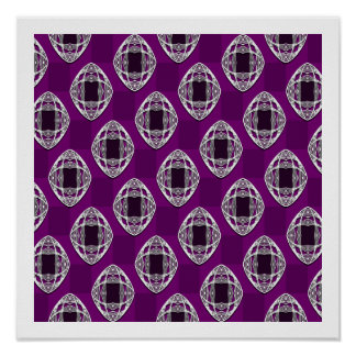 Amethyst Nouveau Checked Pattern Poster
