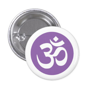 Amethyst Orchid and White Om Symbol Badge Button