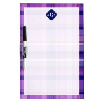Amethyst Pink Navy Wht Preppy Madras Monogram Dry-Erase Whiteboard
