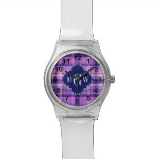 Amethyst Pink Navy Wht Preppy Madras Monogram Wristwatches