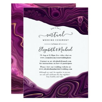 Amethyst Purple and Gold Virtual Wedding Invitations