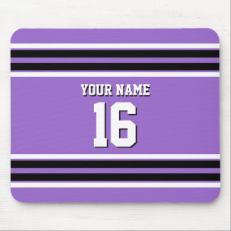 Amethyst Purple Blk Team Jersey Custom Number Name Mouse Pad